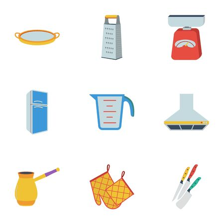 sieve: Kitchen set icons in flat style. Big collection of kitchen vector symbol stock illustration