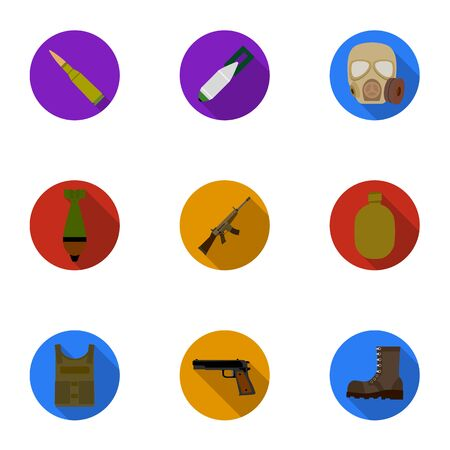Military and army set icons in flat style. Big collection of military and army vector symbol stock illustration