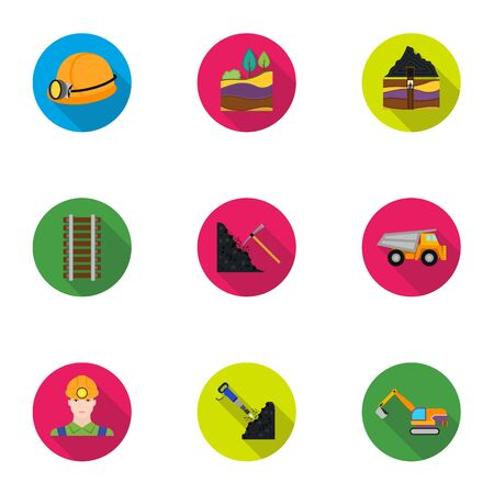 haul: Mine set icons in flat style. Big collection of mine vector symbol stock illustration Stock Photo