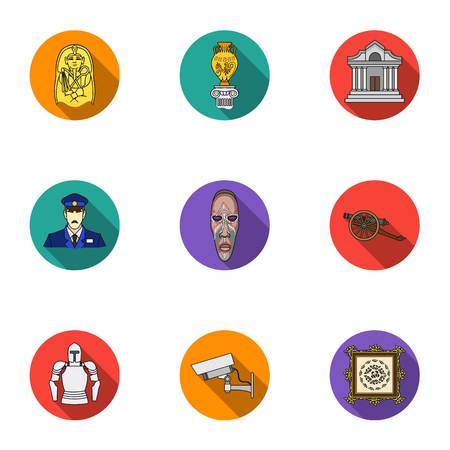 art museum: Museum set icons in flat style. Big collection of museum vector symbol stock illustration
