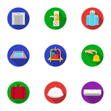 minibar: Hotel set icons in flat style. Big collection of hotel vector symbol stock illustration