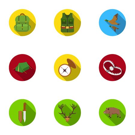 hip flask: Hunting set icons in flat style. Big collection of hunting vector symbol stock illustration