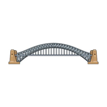 Sydney Harbour Bridge icône en style cartoon isolé sur fond blanc. Illustration de vecteur stock symbole Australie.