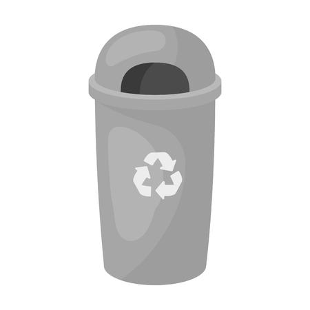 Riciclare icona di spazzatura in stile contorno isolato su sfondo bianco. Simbolo di bio e ecologia simbolo illustrazione vettoriale.