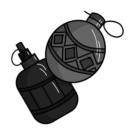 hand grenade: Paintball hand grenade icon in outline style isolated on white background. Paintball symbol stock vector illustration.