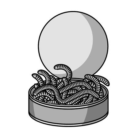 Tincan full of worms icon in monochrome style isolated on white background. Fishing symbol stock vector illustration. Illustration