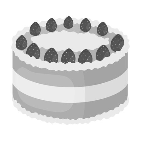 strawberry cake: Strawberry cake icon in monochrome style isolated on white background. Cakes symbol stock vector illustration.