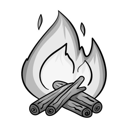 Campfire icon in monochrome style isolated on white background. Fishing symbol stock vector illustration.
