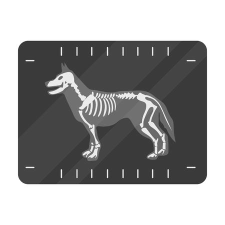 Hond x-ray pictogram in zwart-wit stijl geïsoleerd op een witte achtergrond. Veterinaire kliniek symbool voorraad vectorillustratie