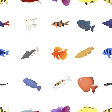 Aquarium fish pattern icons in cartoon style. Big collection aquarium fish vector symbol stock illustration Illustration