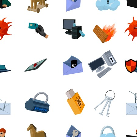 hacking: Hackers and hacking pattern icons in cartoon style. Big collection of hackers and hacking vector symbol stock illustration Illustration