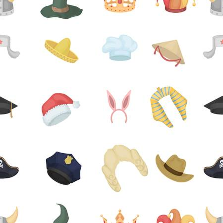 wig: Hats pattern icons in cartoon style. Big collection of hats vector illustration symbol. Illustration