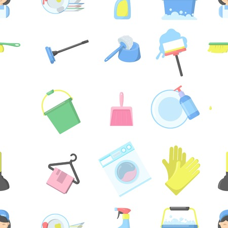bag of soil: Cleaning pattern icons in cartoon style. Big collection cleaning vector symbol stock illustration
