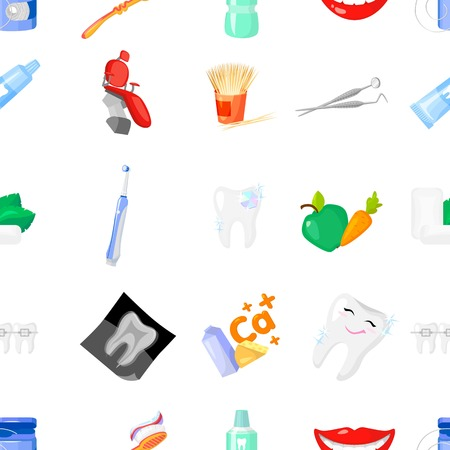 Dental care pattern icons in cartoon style. Big collection of dental care vector symbol stock illustration Illustration