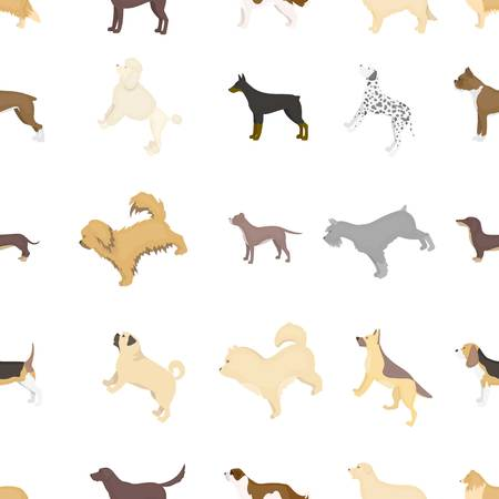 breeds: Dog breeds pattern icons in cartoon style. Big collection dog breeds vector symbol stock illustration Illustration