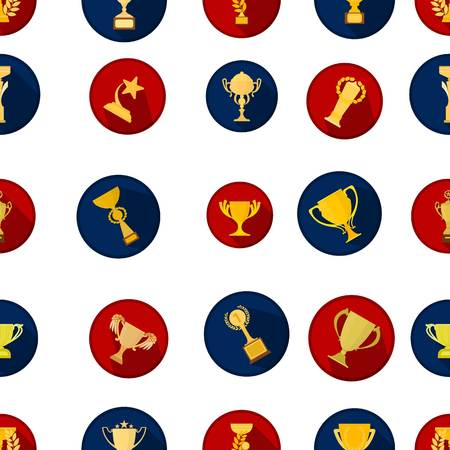 precedence: Winner cup pattern icons in cartoon style. Big collection of winner cup vector illustration symbol.