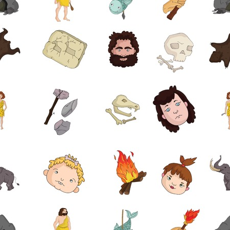 bearskin: Stone age pattern icons in cartoon style. Big collection of stone age vector symbol stock illustration