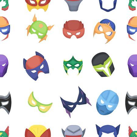 Superhero mask pattern icons in cartoon style. Big collection superhero mask vector symbol stock illustration