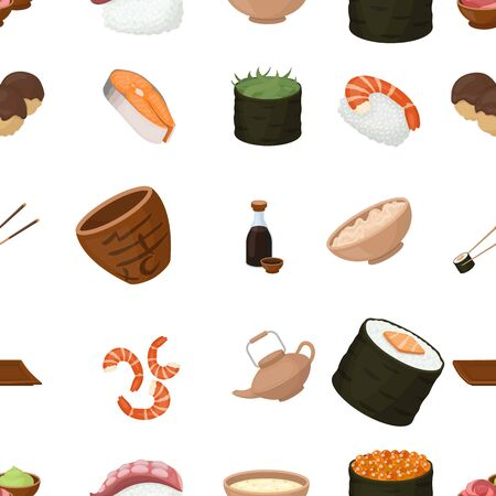 tetsubin: Sushi pattern icons in cartoon style. Big collection of sushi vector illustration symbol.