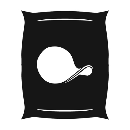 potato chips: Potato chips icon in black style isolated on white background. Pub symbol stock vector illustration.