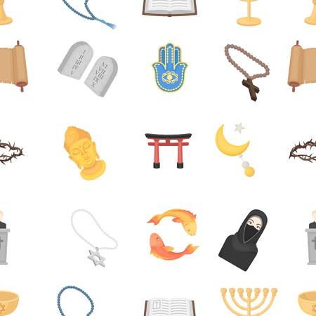 torii: Religion pattern icons in cartoon style. Big collection of religion vector illustration symbol. Illustration
