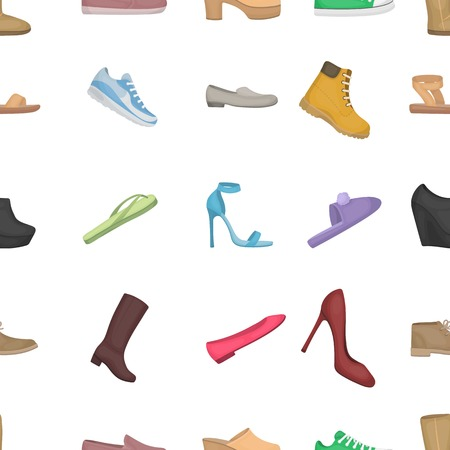 knee boots: Shoes pattern icons in cartoon style. Big collection of shoes vector illustration symbol. Illustration