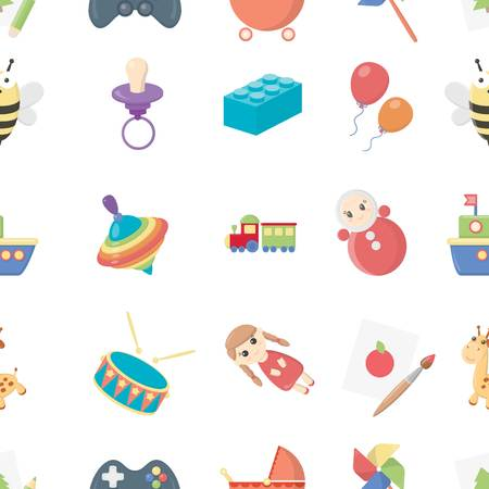 children crab: Toys pattern icons in cartoon style. Big collection toys vector symbol stock illustration