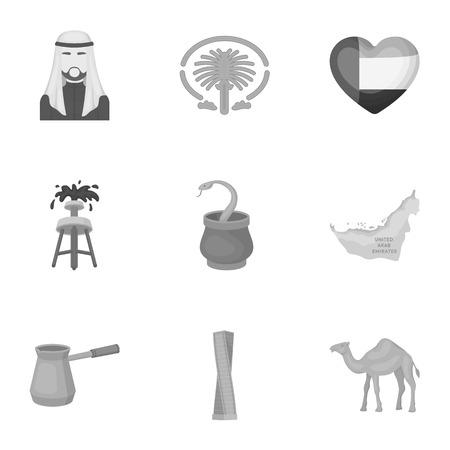 Arab Emirates set icons in monochrome style. Big collection of Arab Emirates vector symbol stock illustration