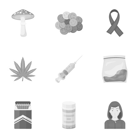 ecstasy: Drugs set icons in monochrome style. Big collection of drugs vector symbol stock illustration Illustration