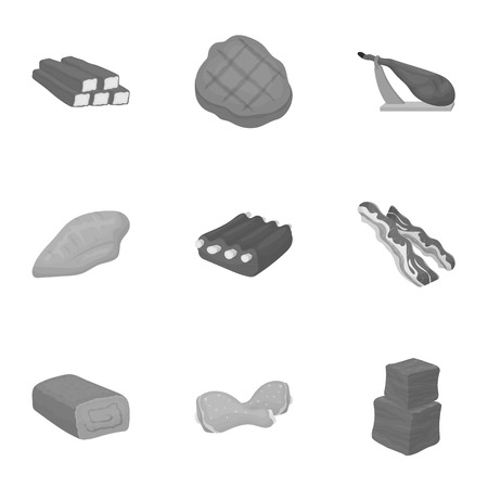 carnes: Meats set icons in monochrome style. Big collection of meats vector symbol stock illustration