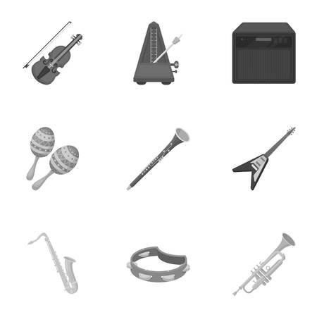 bagpipes: Musical instruments set icons in monochrome style. Big collection of musical instruments vector symbol stock illustration