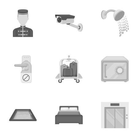 minibar: Hotel set icons in monochrome style. Big collection of hotel vector symbol stock illustration Illustration