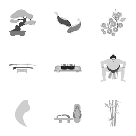 koi: Japan set icons in monochrome style. Big collection of Japan vector symbol stock illustration