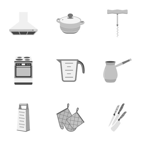 stockpot: Kitchen set icons in monochrome style. Big collection of kitchen vector symbol stock illustration