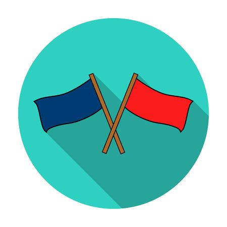 flagstaff: Red and blue flags icon in flat style isolated on white background. Paintball symbol stock vector illustration. Illustration