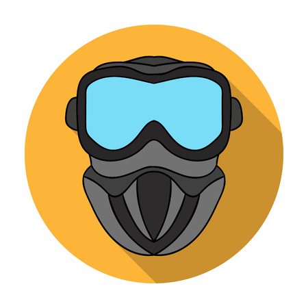 Paintball mask icon in flat style isolated on white background. Paintball symbol stock vector illustration. Illustration