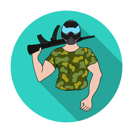 Paintball player icon in flat style isolated on white background. Paintball symbol stock vector illustration. Illustration