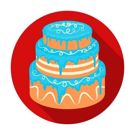 Blue three-ply cake icon in flat style isolated on white background. Cakes symbol stock vector illustration.
