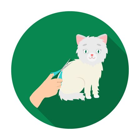Grooming of a cat icon in flat style isolated on white background. Veterinary clinic symbol stock vector illustration.