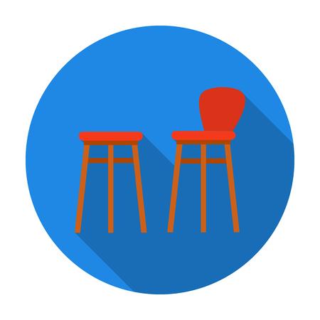 Bar stool icon in flat style isolated on white background. Pub symbol stock vector illustration. Illustration