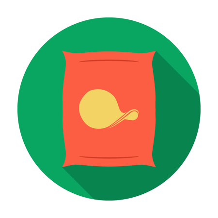 potato chips: Potato chips icon in flat style isolated on white background. Pub symbol stock vector illustration.