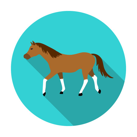 Horse icon in flat style isolated on white background. Hippodrome and horse symbol stock vector illustration. Illustration