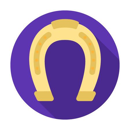 Horseshoe icon in flat style isolated on white background. Hippodrome and horse symbol stock vector illustration.
