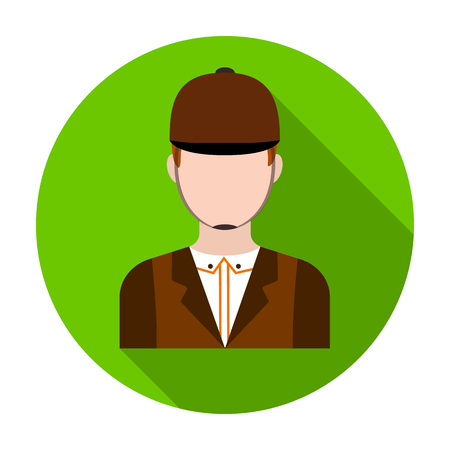Jockey icon in flat style isolated on white background. Hippodrome and horse symbol stock vector illustration. Illustration
