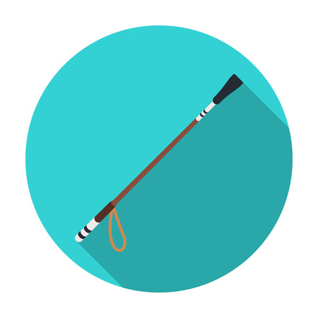 Riding whip icon in flat style isolated on white background. Hippodrome and horse symbol stock vector illustration. Illustration