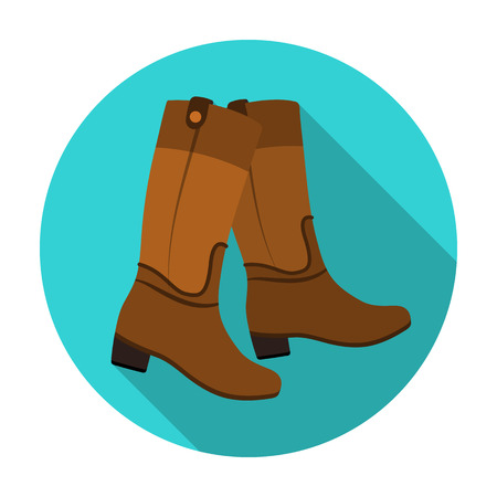 Jockeys high boots icon in flat style isolated on white background. Hippodrome and horse symbol stock vector illustration.