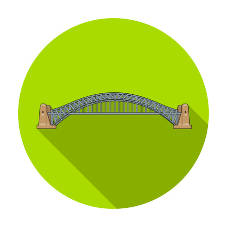 Sydney Harbour Bridge icon in flat style isolated on white background. Australia symbol stock vector illustration. Illustration