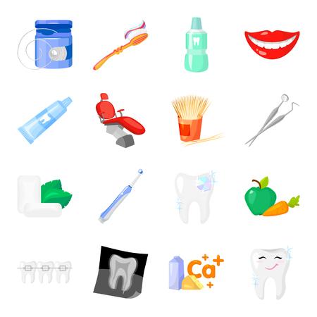 Tandheelkundige zorg stel pictogrammen in cartoon stijl. Grote verzameling van tandheelkundige zorg vector symbool stock illustratie
