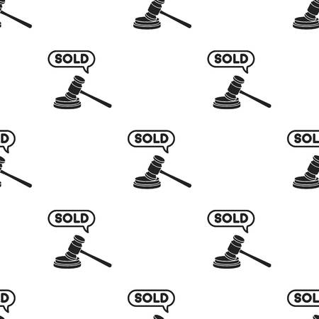 auctioneer: Auction hammer icon in black style isolated on white background. E-commerce pattern stock vector illustration.