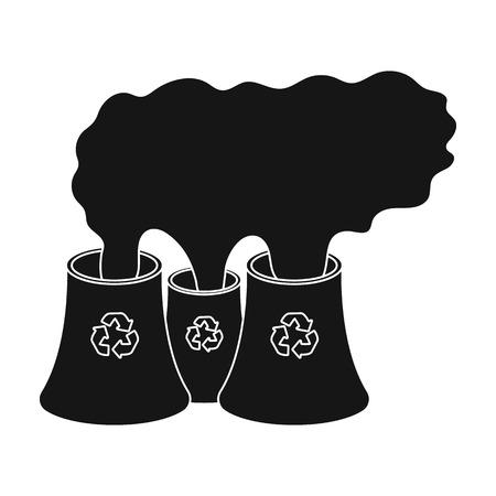 recycling plant: Recycling plant icon in black style isolated on white background. Bio and ecology symbol stock vector illustration. Illustration